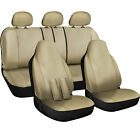 FAUX PU LEATHER CAR SEAT headrest steering wheel Cover 17pc Bucket Bench Set