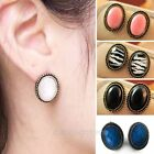 Fashion Women Girl Trendy Vintage Retro Delicate Oval Ear Studs Earrings 2 Pairs