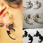 Unisex Stylish Lovely Long Tail Leopard Cat Piercing Puncture Ear Stud Earrings