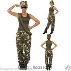 CL356 Women Khaki Camo Uniform Military Army Soldier Top Gun Fancy Dress Costume