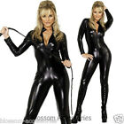 CL358 Fever Miss Whiplash Vinyl Suit Black Catsuit Catwoman Fancy Dress Costume