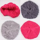 3 Colors Women Girl Knitted Crochet Hat Baggy Beret Warm Winter Beanie Caps - CB