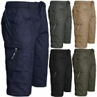 MENS NEW SMART CASUAL SUMMER PLAIN SHORTS ELASTICATED WAIST CARGO LONG 3/4 PANTS