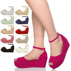 WOMENS LADIES MID HEEL WEDGE PLATFORM FLATFORM ANKLE STRAP SANDALS SHOES SIZE