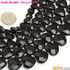 "AA Faceted Heart Black Agate Gemstone Loose Beads Strand 15""8/10/12/14/16mm Pick"