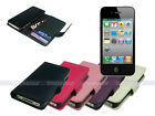 Leather Wallet Case Cover for iPhone 4S 4 with Card Slot