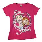 NEW GIRLS EX STORE FROZEN PINK GRAPHIC T-SHIRT 7-13 YEARS Anna Elsa 140 / 152