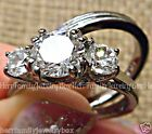 Vintage style Stainless Steel Round cut Simulated Diamond Wedding Ring Band Set