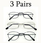 3 or 6 Pairs Men Women Unisex Silver Black Metal Frame Readers Reading Glasses
