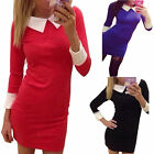 Women Sexy Bodycon Long Sleeve Work Office Party Evening Cocktail Mini Dress