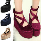 New Lady's Platform Shoes Retro Wedge Flatform Punk Creepers Thick Shoes