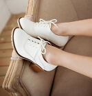 fashion womens lace up leather solid low chunky heel school girl shoes sz 35-43