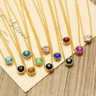 2015 New Hot Birthstone Crystal Choker Gold Necklace Women Minimalist CZ Jewelry