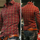 S M L XL BIG SALE! Mens Shirt Shirts Slim Fit Dress Shirts RED GRID IN SPRING