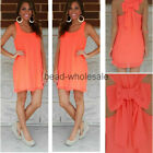 Casual Women Summer Casual Bowknot Chiffon Evening Party Cocktail Mini Dress NEW
