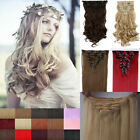 100% Real Good Full Head hair Clip in on Hair Extensions 18 Clips Grade Best U35
