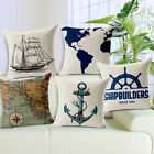 "Sailing Anchor Map Cartoon Sofa Decor Pillow Case Cushion Cover Square 18"" Linen"