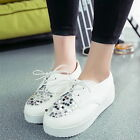 Womens Lace Up Glitter Thick Sole Creeper Slip On Shoes Loafers Comfort Flats