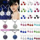 New Fashion Women Jewelry Genuine Crystal Silver Beads Necklace Earring Sets