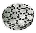 mq08r Ash Grey Black Checker Silver Metallic Shimmer 3D Round Cushion Cover Case