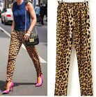 Stylish Women Leopard Print Casual Jogger Pants Elastic Loose Full Trousers - CB
