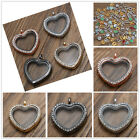 Fashion Locket Heart Pendant Necklace Living Floating Memory Women Charms Glass