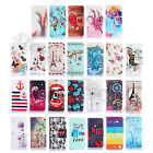 For Apple iPhone Embossed Rugged PU Leather Card Holder Stand Wallet Case Cover