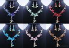 Special Wedding Bridal Jewelry Crystal Rhinestone Butterfly Necklace Earring Set