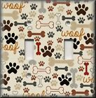Light Switch Plate Cover - Dog Paws And Bones - Animal Home Decor - Brown Decor