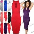 Womens Ladies Sleeveless Camisole High Neck Cut Out Keyhole Bodycon Midi Dress