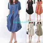 Casual Women Solid Cotton Round Neck Short Sleeve Ruffle Hem Loose Dress S - 2XL