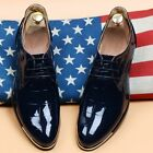 Fashion Mens Casual British Lace Up Patent Leather Low-Top Dress Formal Shoes