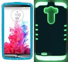 Impact Cover for LG G3 Dual Layer Case Light Blue w/ Glow in the Dark Silicone