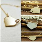 Engravable & Polish Plain Heart Love New Silver/Gold Disc Pendant Necklace Chain
