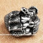 1pc Silvery Stainless Steel Monster Claw Finger Ring Punk Mens Jewelry