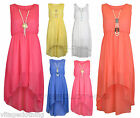 Girls Sleeveless Chiffon Asymmetrical Uneven Hem Dress with Pearl Neckless