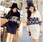 Women Vintage Printed Casual Sweatshirts Pullover Tops Blouse T shirt Dress - CB