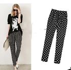 New Ladies Polka Dot Elastic Waist Highly Elastic Pants Trousers UK Size 14-18