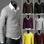 New Men's V-neck Sweater Premium Stylish Slim Fit Jumper Tops Cardigan  6 Colors