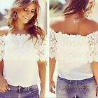 Hot  Women's Off Shoulder Casual Tops Blouse Lady Lace Crochet Chiffon Shirt