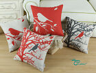 "Square Pillow Throw Cushion Covers Shell Red Shadow Bird Branch 18""X18"""