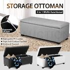 Blanket Ottoman Linen & PU Leather Toy Large Storage Box Foot Stool Chest