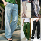 Cool Men's Comfortable Linen Pants Trousers Loose Summer Beach Drawstring Slacks