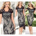 Spring/Fall Women's Sexy Black V-neck Lace Dress Pencil Skirt Short Sleeve - CB