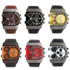 "Men""s Leather Strap Army Military 3 Time Zones Quartz Wrist Sport Watch Oenate"