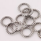 Lots 100/200Pcs 8mm Tibetan Silver Twist Rings Spacer Beads Charm DIY Necklace
