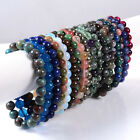 8mm Fashion round & Carved gemstone bone shell beads stretchable bracelet 7""