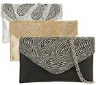 LADIES DIAMANTE PAISLEY PROM PARTY EVENING DRESSY OCCASION HAND CLUTCH BAG