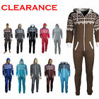 UNISEX MENS WOMENS HOODED ONESIE ZIP PLAYSUIT ALL IN ONE JUMPSUIT SIZE S-4XL