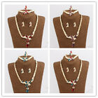 In 4 Color Vogue Women 18K Gold Plated Crystal Drop Shape Necklace Jewelry Sets